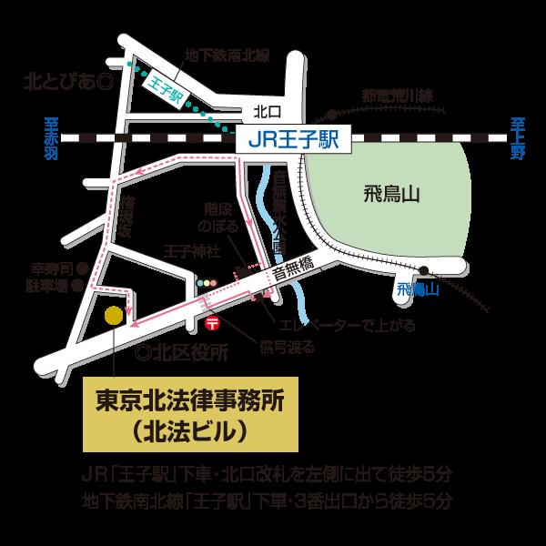 事務所へのアクセス。JR・地下鉄南北線王子駅下車徒歩3分。
